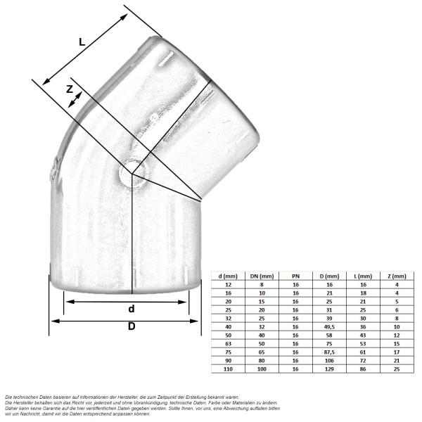 pvc winkel 45 grad klebmuffe 0 32. Black Bedroom Furniture Sets. Home Design Ideas